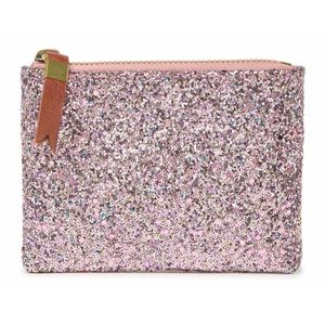 NEW MADEWELL Pink Glitter 'The Leather Pouch'